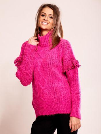 Ciemnoróżowy sweter z frędzlami