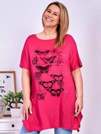 Ciemnoróżowy t-shirt damski w motyle PLUS SIZE