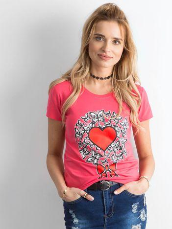 Ciemnoróżowy t-shirt damski z nadrukiem