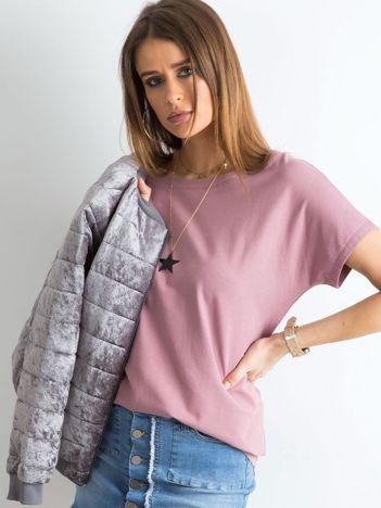 Ciemnoróżowy t-shirt z dekoltem na plecach
