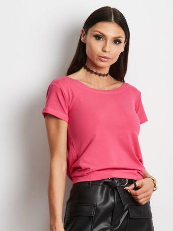 Ciemnoróżowy t-shirt z wiązanym tyłem