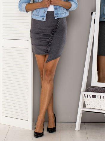 Ciemnoszara asymetryczna spódnica z falbaną