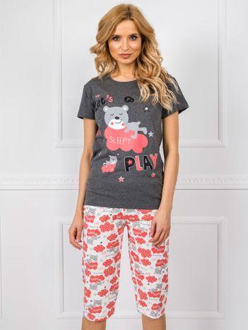 Ciemnoszara bawełniana piżama we wzory