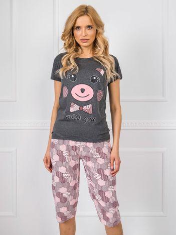 Ciemnoszara bawełniana piżama z krótkim rękawem