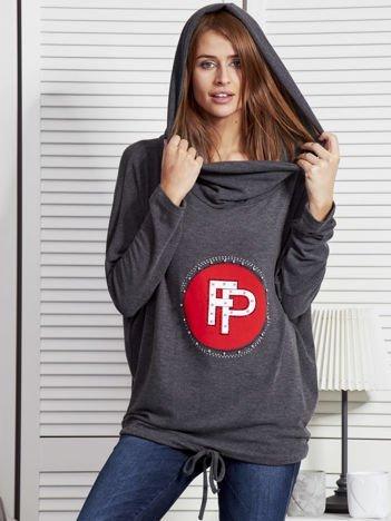 Ciemnoszara bluza damska z aplikacją i ściągaczem na dole