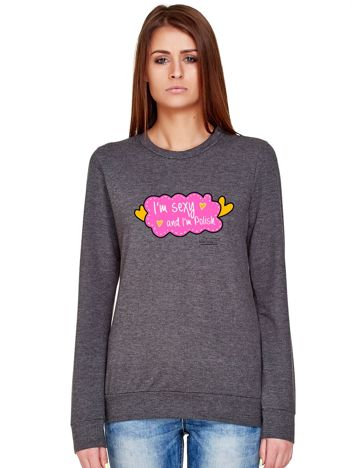 Ciemnoszara bluza damska z nadrukiem I'M SEXY by Markus P