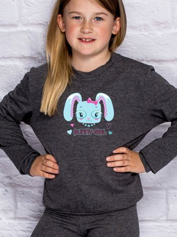 Ciemnoszara bluza dla dziewczynki BUNNY GIRL