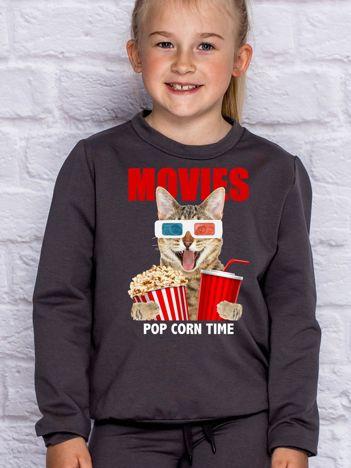 Ciemnoszara bluza dziecięca z kotkiem i popcornem