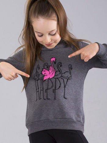 Ciemnoszara bluza dziewczęca z futrzanym kapturem