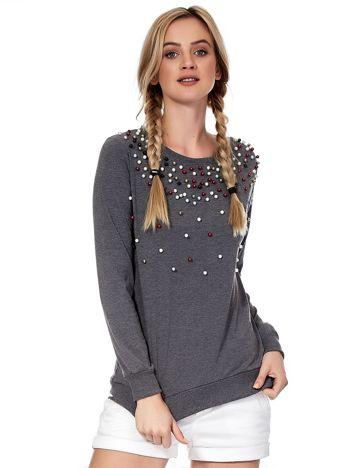 Ciemnoszara bluza z kolorowymi perełkami
