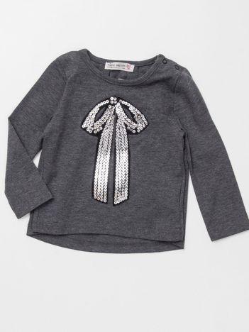 Ciemnoszara bluzka dla dziewczynki z cekinową aplikacją