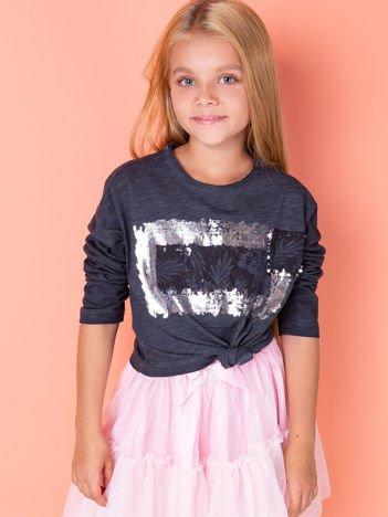 Ciemnoszara bluzka dla dziewczynki z nadrukiem i aplikacją
