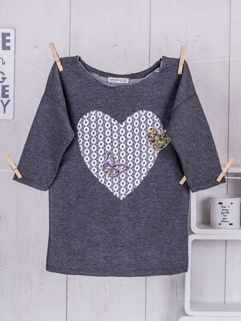 Ciemnoszara bluzka dla dziewczynki z sercem
