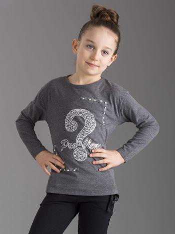 Ciemnoszara bluzka dziewczęca z aplikacją i perełkami