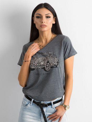 Ciemnoszara koszulka damska z nadrukiem