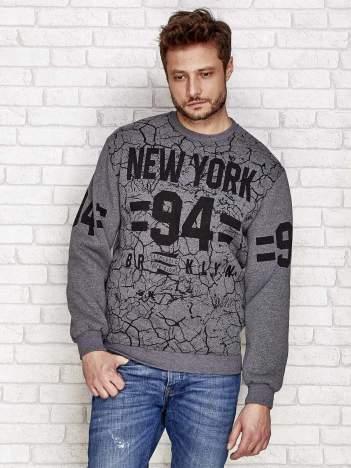 Ciemnoszara ocieplana bluza męska z napisem NEW YORK 94