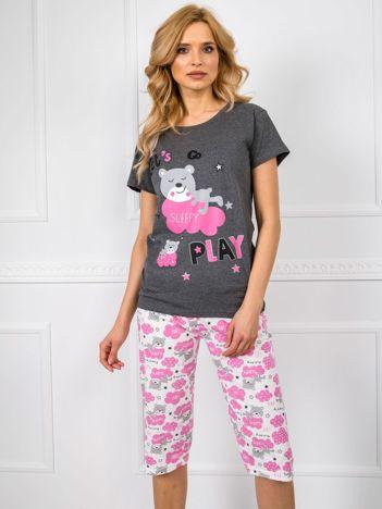 Ciemnoszara piżama damska we wzory