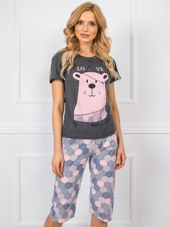Ciemnoszara piżama z krótkim rękawem