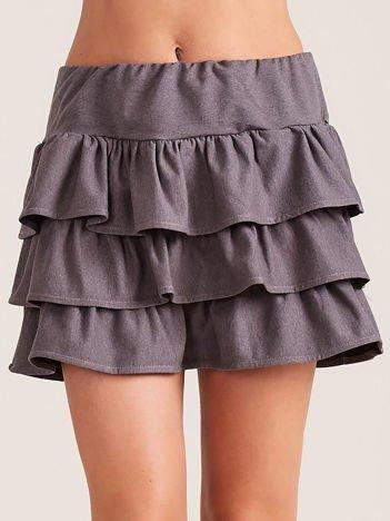 Ciemnoszara spódnica mini z falbanami