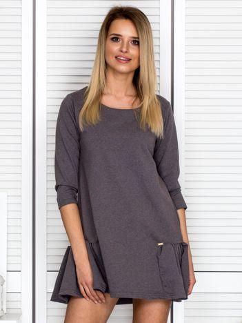 Ciemnoszara sukienka dresowa z falbankami