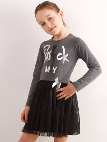 ac6c325a75 Ciemnoszara sukienka z bawełny dla dziewczynki