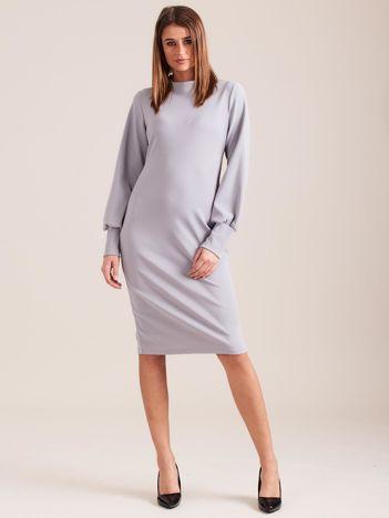 Ciemnoszara sukienka z długim rękawem