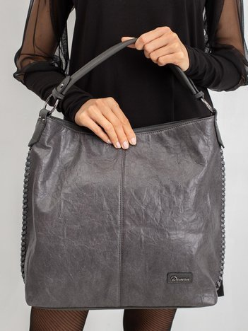 Ciemnoszara torebka z plecionką