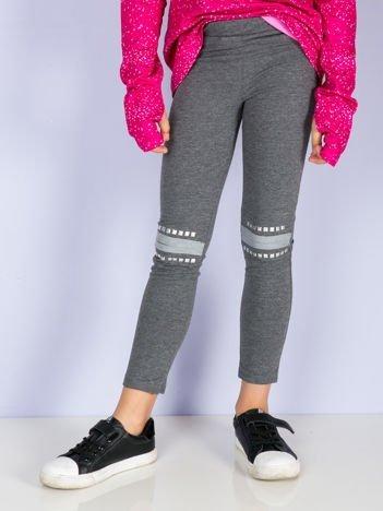 Ciemnoszare legginsy dla dziewczynki z aplikacją na kolanach