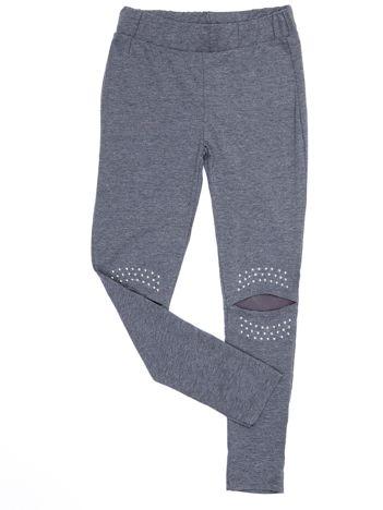 Ciemnoszare legginsy dla dziewczynki z siateczkową wstawką