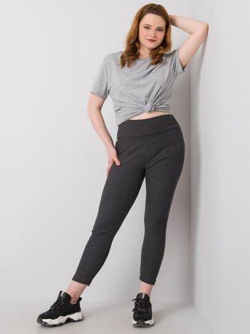 Ciemnoszare legginsy plus size w prążek Caitleen RUE PARIS