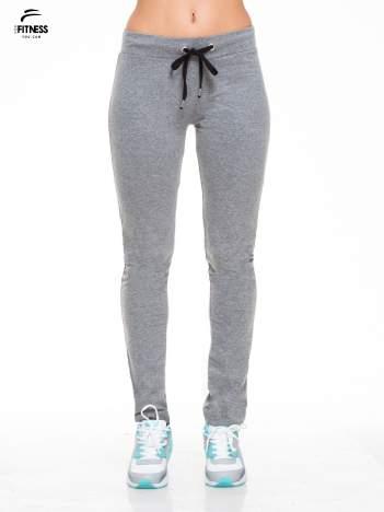 Ciemnoszare proste spodnie dresowe wiązane w pasie