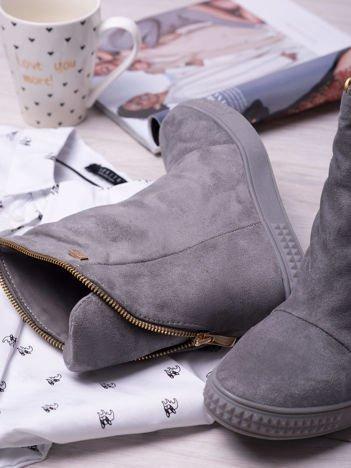 Ciemnoszare sneakersy na koturnach Jillie z suwakiem dookoła cholewki