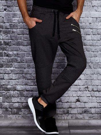 Ciemnoszare spodnie dresowe męskie z suwakami