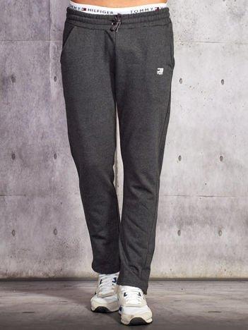 Ciemnoszare spodnie dresowe męskie z troczkami
