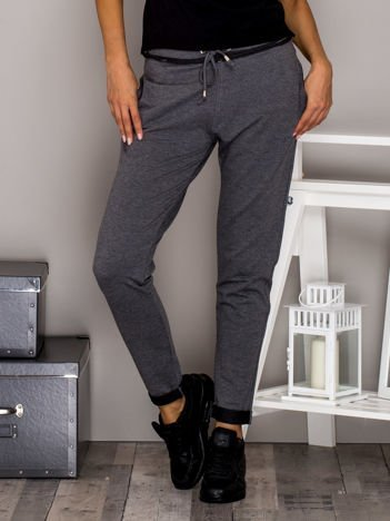 Ciemnoszare spodnie dresowe z troczkami i lamówką