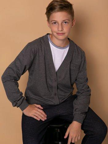 Ciemnoszary bawełniany sweterek dla chłopca z łatami na łokciach