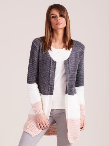 Ciemnoszary damski sweter z kieszeniami
