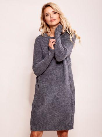 Ciemnoszary długi sweter o kroju oversize