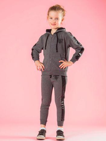 Ciemnoszary dziecięcy komplet ze wstawkami z eko skóry