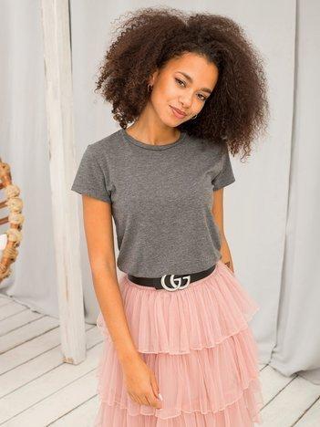 Ciemnoszary melanżowy t-shirt damski