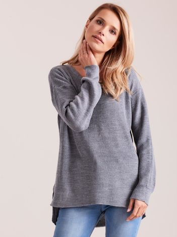 Ciemnoszary sweter damski w serek