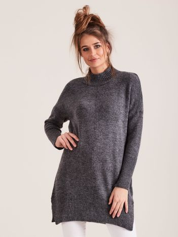 Ciemnoszary sweter damski z golfem