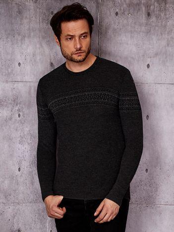 Ciemnoszary sweter męski z modułem w etniczne wzory