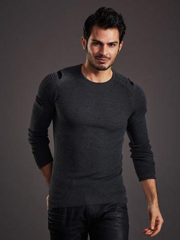 Ciemnoszary sweter męski z rozcięciami na rękawach