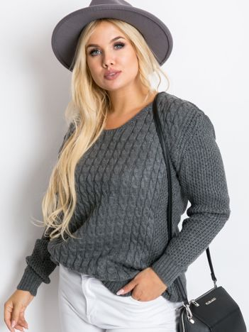 Ciemnoszary sweter plus size Now
