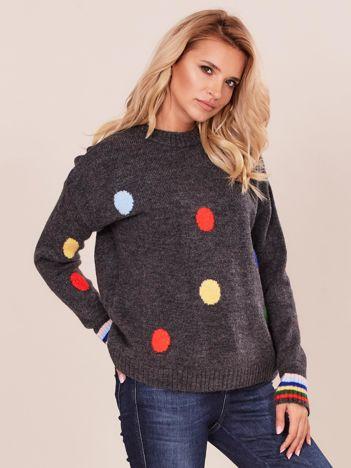 Ciemnoszary sweter w grochy