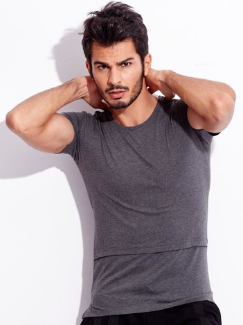 Ciemnoszary t-shirt bawełniany dla mężczyzny