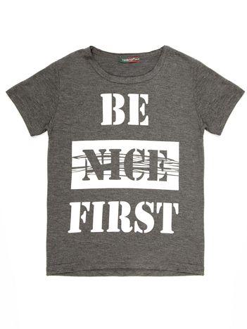 Ciemnoszary t-shirt dziecięcy z napisem
