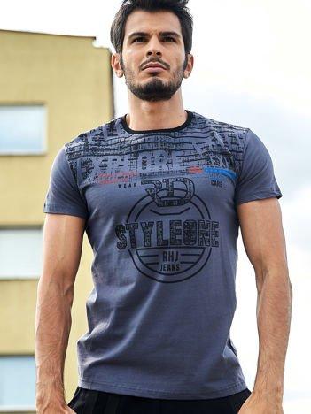 Ciemnoszary t-shirt męski z okrągłym nadrukiem