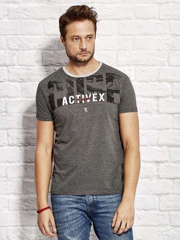 Ciemnoszary t-shirt męski z printem
